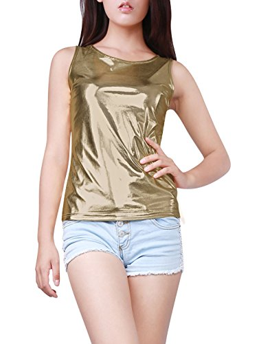 Allegra K Damen Sommer Slim Fit Ärmellos U-Boot Ausschnitt Metallic Tank Top, S (EU 38)/Hell Gold (Allegra K U-boot-ausschnitt)