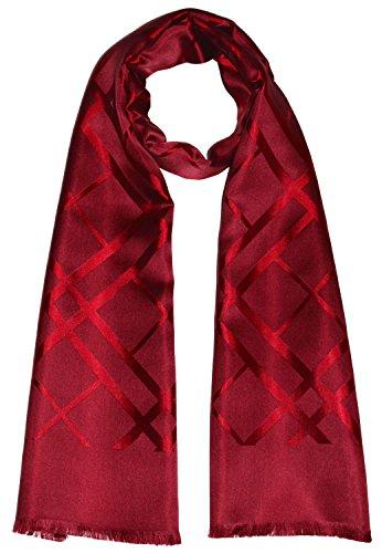 LORENZO CANA Luxus Herren Schal aus 100% Seide aufwändig jacquard gewebt Damast Seidenschal Seidentuch Tuch 25 cm x 160 cm dunkelrot