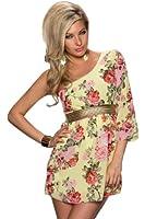 5165 Fashion4Young Damen One Shoulder Minikleid aus Chiffon Kleid verfügbar in 3 Farben Gr. 34/36