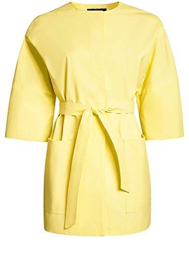 oodji Collection Damen Trenchcoat mit Knöpfen und 3/4 Arm Gelb (5000N)