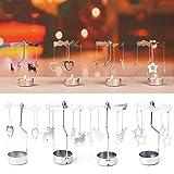 MNDSHGU Multi-Forma di Romantico di Filatura di Metallo Rotante Carousel tè Luce del Basamento del Supporto di Candela Decorazione di Natale di Colore del Nastro