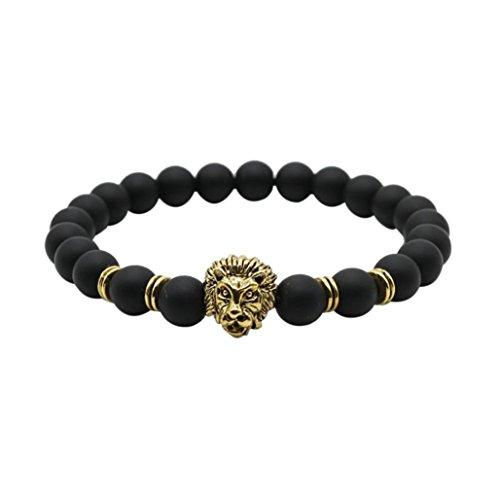 (Yogogo Großhandel Buddha Leo Lion Armband Schwarz Lava Stein Perlen Armbänder für Männer Frauen (B))