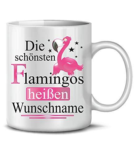 Golebros Die schönsten Flamingos heißen Wunschname 6294 Fun Tasse Becher Kaffeetasse Kaffee Mädchen Büro Geburtstag Flamingo Geburtstagstasse Weihnachten Weiss