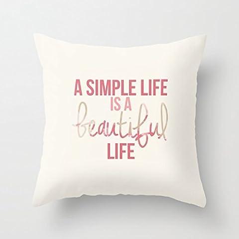 Giveme5une simple Vie est une belle Vie Coque décoratifs Housse de coussin Taie d'oreiller 45,7x 45,7cm