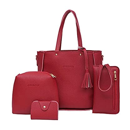Handbag, Shoulder Bags,TUDUZ Women Fashion Casual Four Set tassel Handbag Shoulder Bags Four Pieces Tote Bag Messenger… 2