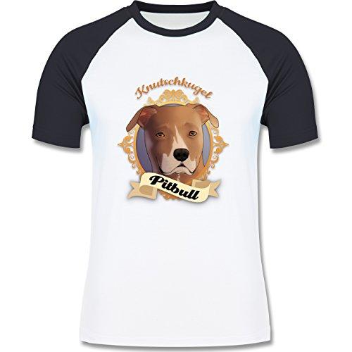 Hunde - Pitbull - Knutschkugel - zweifarbiges Baseballshirt für Männer Weiß/Navy Blau