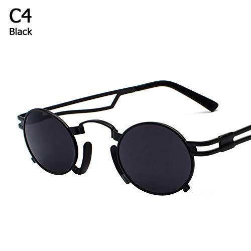 ZHOUYF Sonnenbrille Fahrerbrille Metall Oval Frame Steampunk Gothic Vampir Sonnenbrille Unisex Retro 1980Er Jahre Uv400 Sonnenbrille Cosplay Oculos De Sol, E-Mail, E