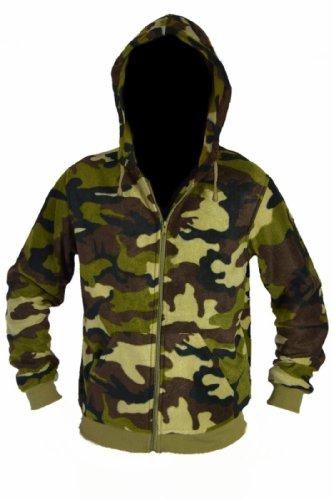 Army Fleece Sweatshirt- und Kapuzenjacke Hoodie Camouflage Muster (XXL, Olivgrün)