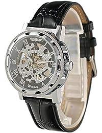 3c73da6e7c64 Beauty7 Reloj para Hombres Analógico de Mecánico de Cuerda Manual Steampunk  con Correa de Cuero Negro