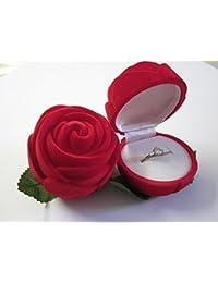 Rouge Coffret à Bague Velours Forme Rose Ecrin Cadeau Rangement Bague Anneau Boite Bijoux Ring Box pour Mariage Anniversaire