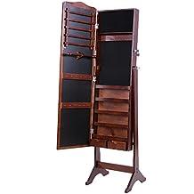Songmics Armario de pie con espejo para joyas, joyero de madera de pie, color marrón 158 cm JBC82K