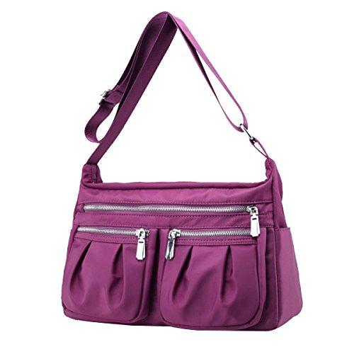 Nylon Frauen Mama Licht Wasserdicht Bunt Vielseitig Art Und Weise Handtasche Purple
