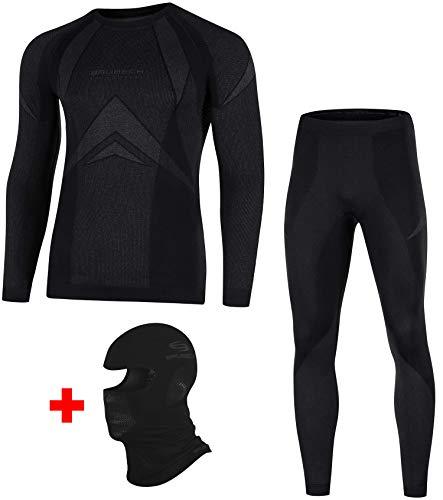 Brubeck Dry Set Funktionsunterwäsche + Sturmhaube | Ski | Motorrad | Snowboard | Radsport | Damen | Herren | Unisex | LS10180 + LE10160 + KM00010, Größen:M