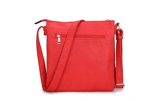LeahWard® Petit Taille Femme Sacs À Betoulière Femme Across Sacs À Main D0023 Rouge Avec De face Poche