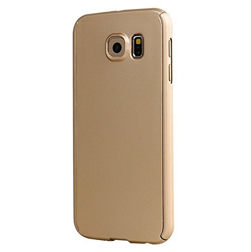 iPaky 360 Protective Body Case with Tempered Glass for Samsung Galaxy S6 Edge - Gold
