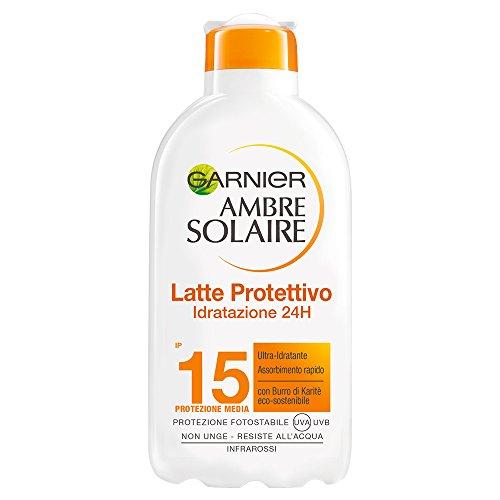 Garnier ambre solaire crema solare, latte protettivo ultra-idratante con burro di karitè, protezione media ip15, 200 ml