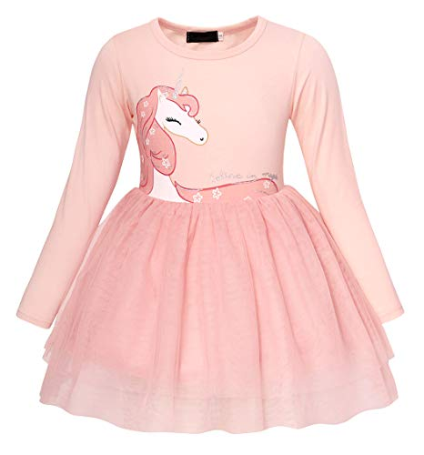 AmzBarley Unicorno Vestito da Festa Ragazza Bambina Fiore Ragazze Partito  Abito con Abiti da Principessa Abito f4fc4f6d70b