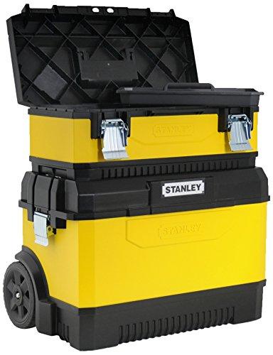 Stanley Werkzeugbox (23 Zoll, 65 x 64 x 39 cm, mobile Box aus Metall-Kunststoff, robust mit Bi-Material Teleskopgriff, rostfreie Schließen, Werkzeugaufbewahrung für Montage) 1-95-831 Mobile Werkzeug Box