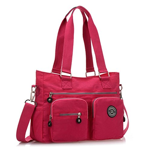 Tiny Chou, borsa di nylon multiuso resistente all'acqua premium, borsa a tracolla per donne Nero (nero)