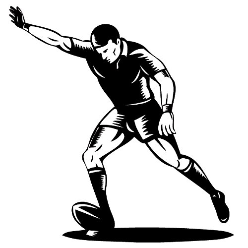 Wadeco Rugby Spieler Wandtattoo Wandsticker Wandaufkleber 35 Farben verschiedene Größen, 120cm x 126cm, schwarz (Canadian Schwarz Football)