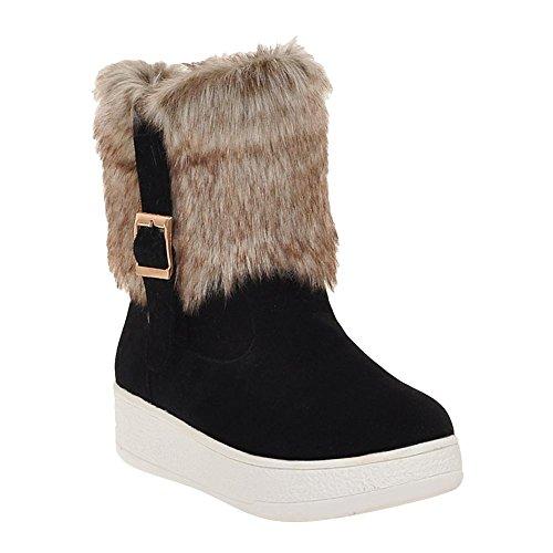 Mee Shoes Damen Pompon runde Plateau Blockabsatz Schneestiefel Schwarz