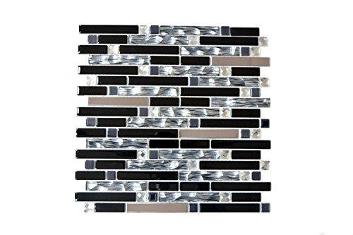 Mosaikfliesen Fliesen Mosaik Küche Bad WC Wohnbereich Fliesenspiegel Mix Glas Edelstahl glänzend 4mm Neu #614 -