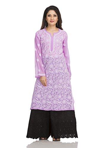 ADA Lucknow Chikankari Handcrafted Faux Georgette Kurti Kurtas Regular Wear A95487