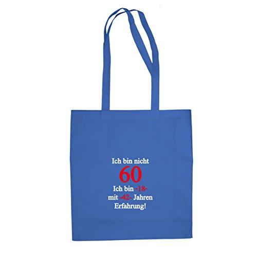 Ich bin nicht 60 - Stofftasche / Beutel, Farbe: blau