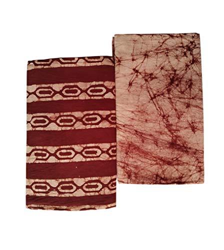 PRIYANSHI MEN'S Pure Cotton wex batik handloom Lungis for Men Set of 2 (2 25 mtr) 2brown