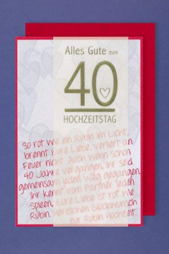 Rubin Hochzeit 40 Hochzeitstag Karte mit Pergament Band 16x11cm