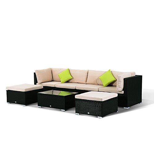 Outsunny-Conjunto-Muebles-de-Jardn-de-Ratn-7-piezas-Mesa-Sofs-Taburetes-con-Cojines-Lavables