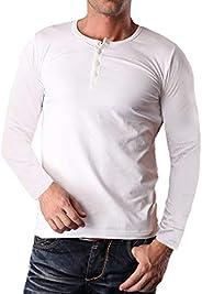 YTD Men's Casual Slim Fit Long Sleeve Henley T-Shirts Cotton Sh