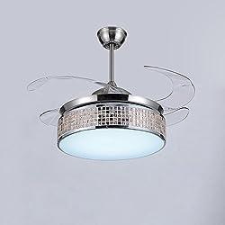 Lighsch Bedroom Ceiling Fan Lamp Invisible Fan-leaf Living Room Led Mute With Fan Chandelier 42 Inch