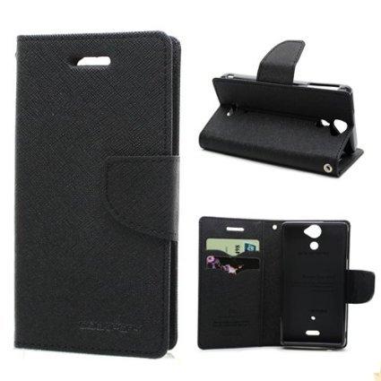 CHL Imported Mercury Fancy Wallet Dairy Flip Case Cover for Xiaomi Redmi 2 / Mi Redmi 2 Prime (XIAOMI MI2) - Black