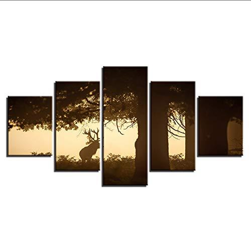hhlwl Leinwand Gemälde Rahmen HD Druckt Wandkunst 5 Stücke Deer unter dem großen Baum Bilder Sonnenuntergang Animal Bucks Poster Home Decor-20x35/45/55cm-frame