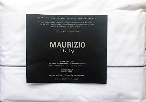 Italienische Schlafzimmer Dekor (Maurizio Italy Bettlaken-Set, 4-teilig, einfarbig, mit dünnem verstärktem dunkelgrauen Streifenabschluss, 100% Baumwolle)