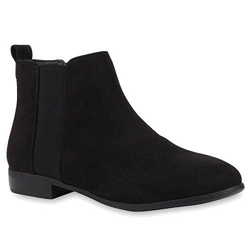 Damen Stiefeletten Chelsea Boots London Style Schuhe Gr. 36-42 Schwarz