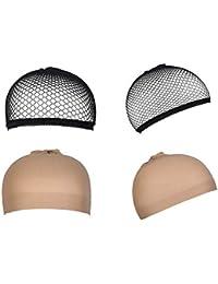 4 Pièces Casquettes Filet Cheveux Perruque, URAQT Bonnet Unisexe Wig Caps de Perruque pour Homme et Femme, neutres nue et noir