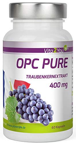 OPC Pure Traubenkernextrakt 400mg pro Kapsel - Traubenkerne aus Frankreich - Laborgeprüft - mind. 40% OPC-Anteil - 60 Kapseln - Hochdosiert - Premium Qualität