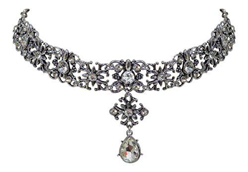Edle Trachtenschmuck Dirndl Kristall Kropfkette - Ornamentales Design - Kropf-Collier (Crystal Klar)