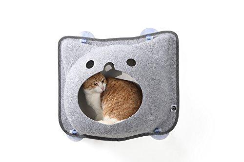 ZJELKY Mode Fenster Katzenbett Sonnenbad Katzen-Bett am Fenster Haustier Katze Hängematte Entspannungsbett schwerer Saugnapf starke Saugkraft kann 30 Pfund halten ein kostenloser Saugnapf-Aufkleber als Geschenk (Grau)