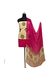 Gleamberry Womens Multicolour (Pink & Beige) Block Print Cotton Dress Material Set