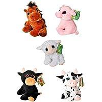 Peluches - Animales granja 5 modelos ojos brillantes 18cm (Toro, Vaca, Cerdo,