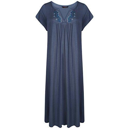 Mesdames Plus Taille long Jersey brodé Nuisette. Violet, Rose, Bleu, vin, gris foncé chiné, Chine, bleu, bleu marine. Tailles 10-12-14-16-18-20-22-24-26-28-30-32 gris foncé