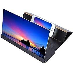 Vbestlife Loupe d'écran HD pour smartphone avec écran de grossissement antirayonnement pour téléphone portable avec pince pour porte-grain en bois stable 12 pouces Noir