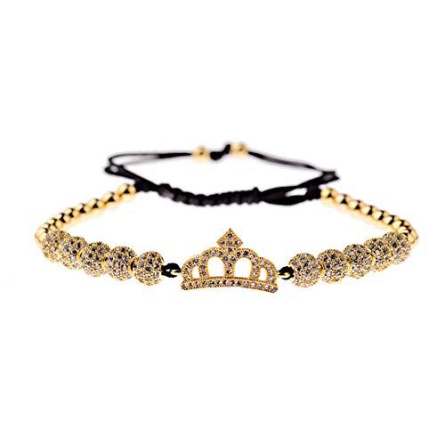 Imagen de ygsvt pulsera cz king crown charm hombres pulseras de macramé con cuentas de cobre pulseras y brazaletes geométricos de moda para mujeres