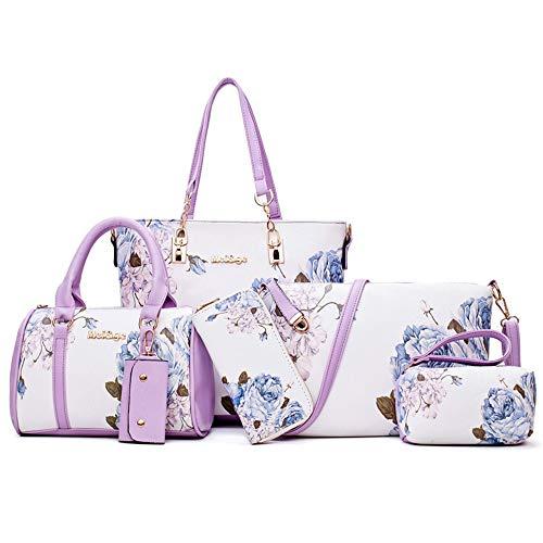 Nannet Neue Art von sechs stück Mutter Tasche von nationalen windigen Zeichnung Blume einheitlichen Schulter schiefe Tasche,Violet