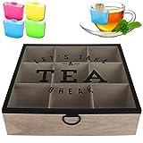 Teebox 9 Fächer Tea Break inkl. Teebeutel-Halter - Teekiste - Tee - Teekasten - Teebeutelhalter - Teedose