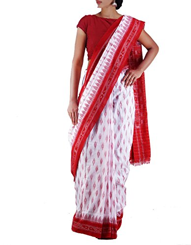 Unnati Silks Women White-Red Pure Handloom Sambalpuri Cotton Ikat Saree