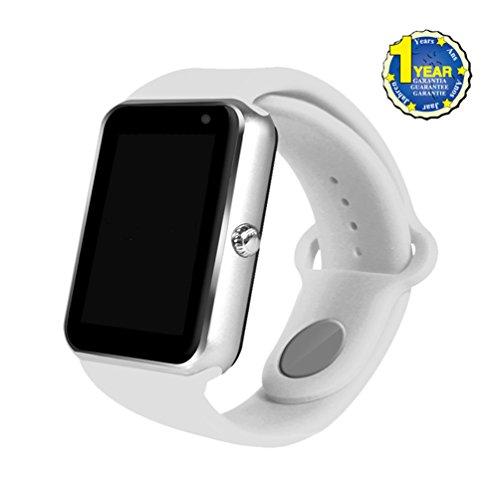 Inteligente del teléfono del reloj, teléfono celular YOUMI Reloj Bluetooth con la cámara, ranura para tarjeta SIM / TF, NFC, MP3, llamada / SMS / Twitter / Facebook empuje, rastreador de ejercicios reloj del deporte para el iPhone IOS y Android Móviles Negro(Silver)